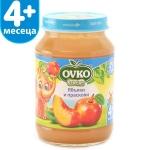 Пюре Ovko 190g плод.ябълки и праскови 4м